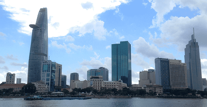 skyscapers on water