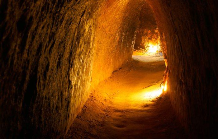 inside of tunnel lit up