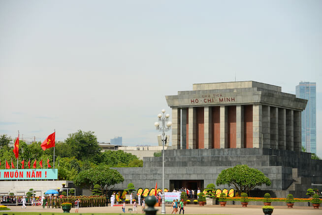 Memorial to President Ho Chi Minh at his Mausoleum in Ba Dinh Square