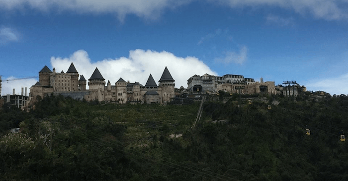 Castle village located at the top of a hill
