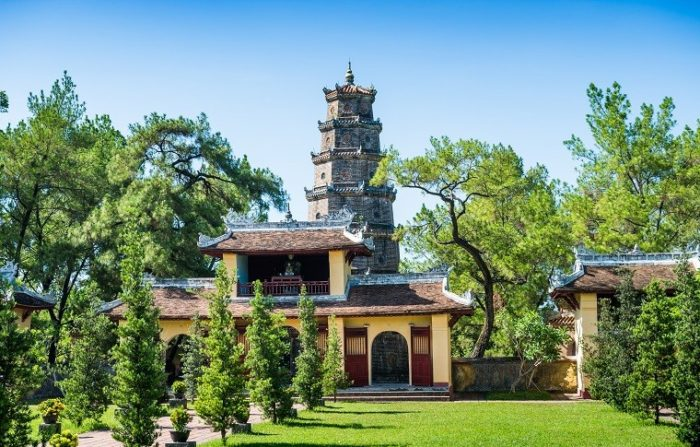 tall pagoda amongst trees